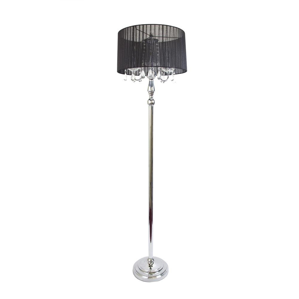 trendy romantic sheer shade floor lamp with hanging crystals black. Black Bedroom Furniture Sets. Home Design Ideas