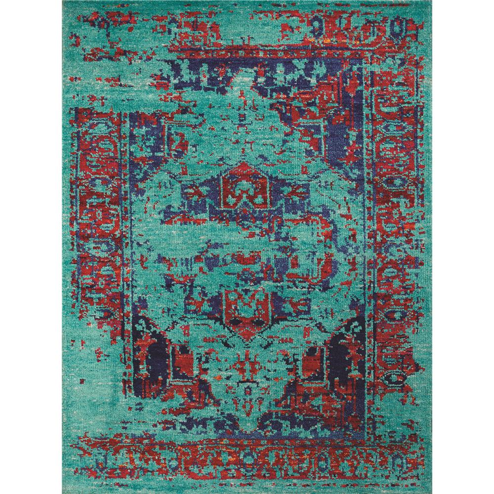 Amer Rugs SIL170203 Silkshine Modern Design Hand-Knotted Rug in Turquoise