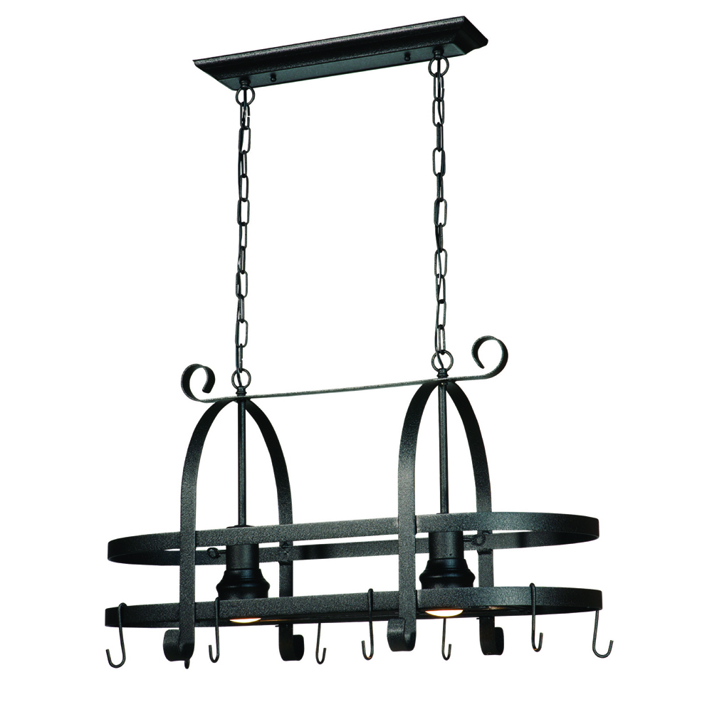 Artcraft AC1798SPEB Pot Racks Collection Island Light in Black