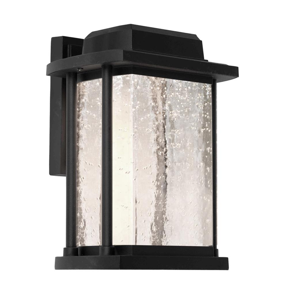 Artcraft Lighting AC9121BK The exquisite outdoor wall brackets from the Addison collection feature clear sparkly seeded glassware on a black or slate frame. (1 light exterior wall sconce)