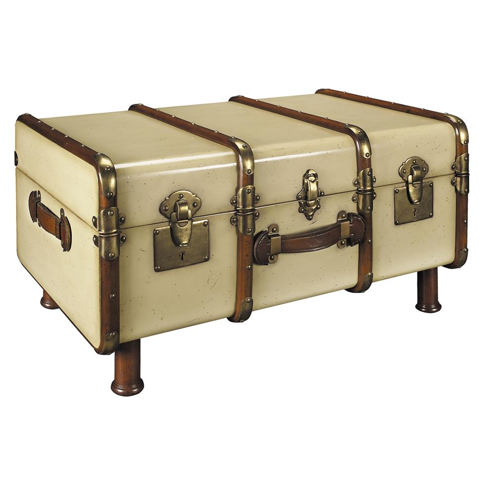 Authentic Models MF040 Stateroom Trunk, Ivory in Black & Honey Distressed French Finish