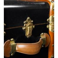 Authentic Models MF040B Stateroom Trunk Table, Black in Ivory & Honey Distressed French Finish