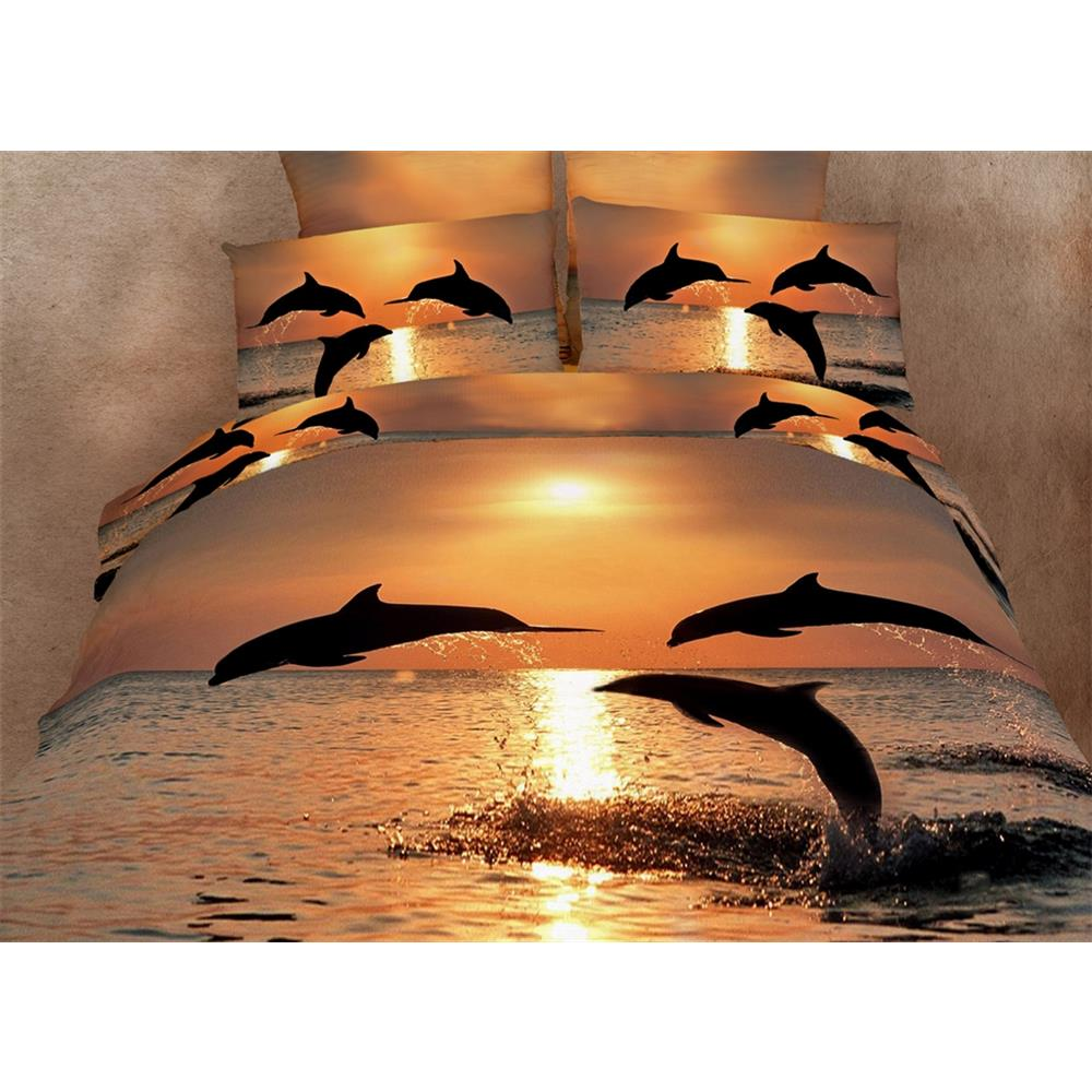 Dolce Mela DM426K King Size Duvet Cover Set, Pacific Sunset