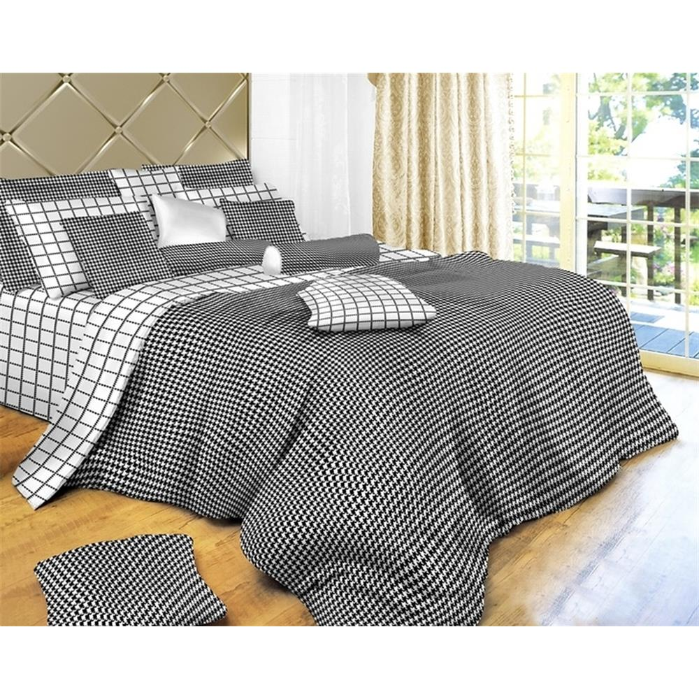 Dolce Mela DM497T Twin Size Duvet Cover Set, Black & White Check