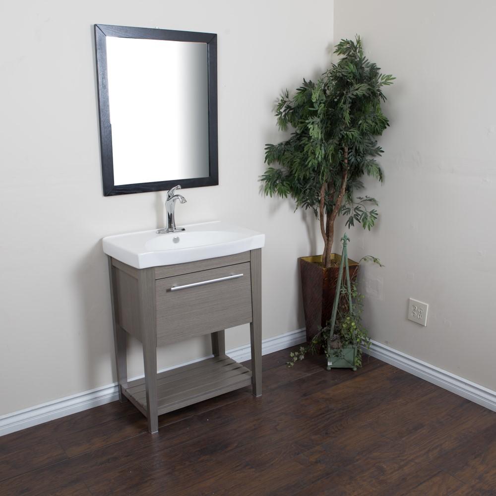 """Bellaterra Home 804353-GY 27.5"""" Single Sink Vanity-Wood-Gray"""