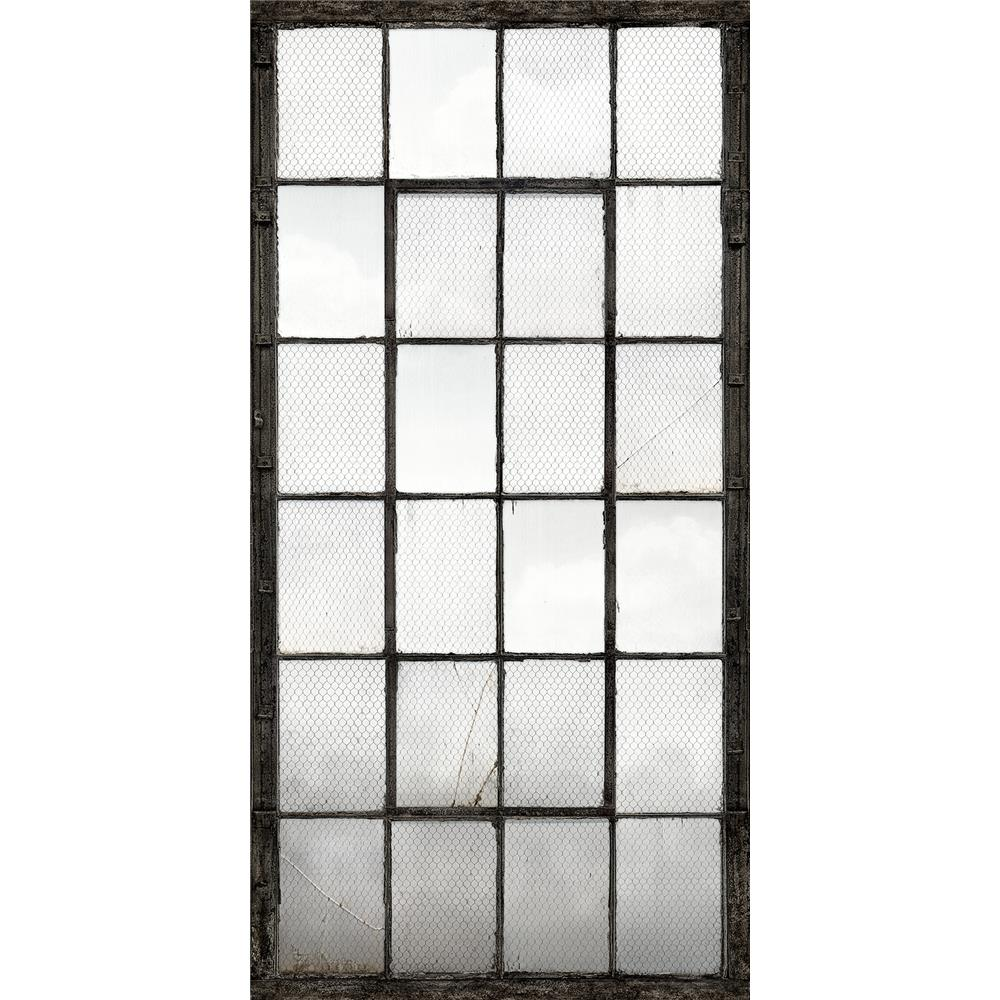 A - Street Prints by Brewster 2701-22359 Warehouse Windows Mural Charcoal Industrial Texture