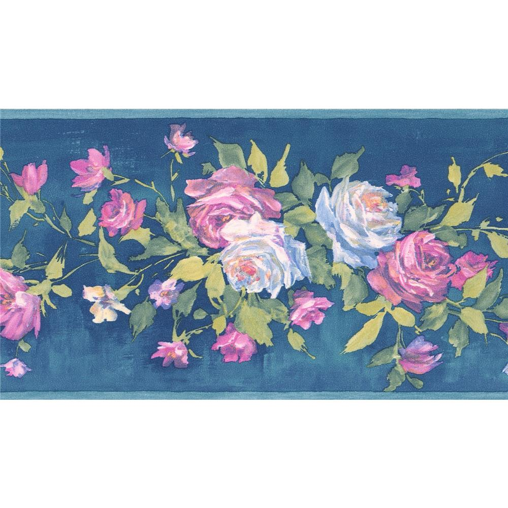 Brewster 413B04960 Andover Miniatures IV Rosa Blue Floral Bouquet Border Wallpaper in Blue