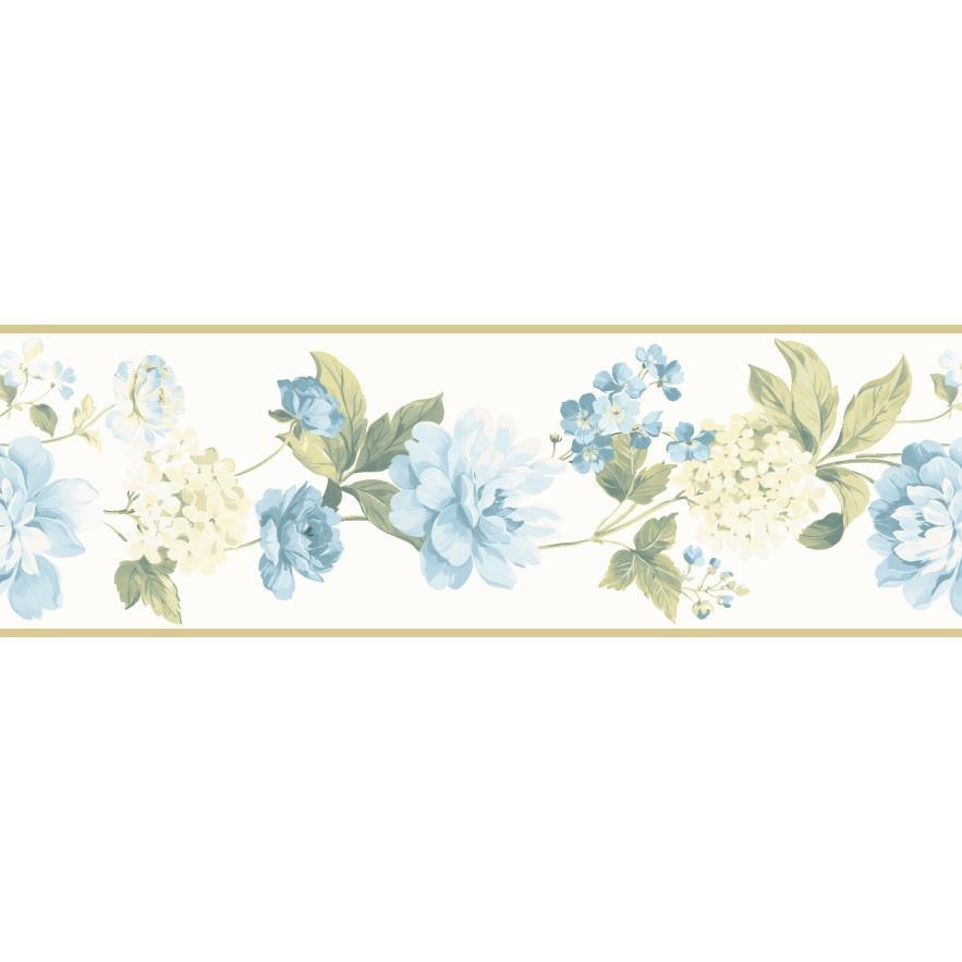 Chesapeake by Brewster CKB77902B Kitchen; Bed; & Bath Blue Peony Border Wallpaper in Blue