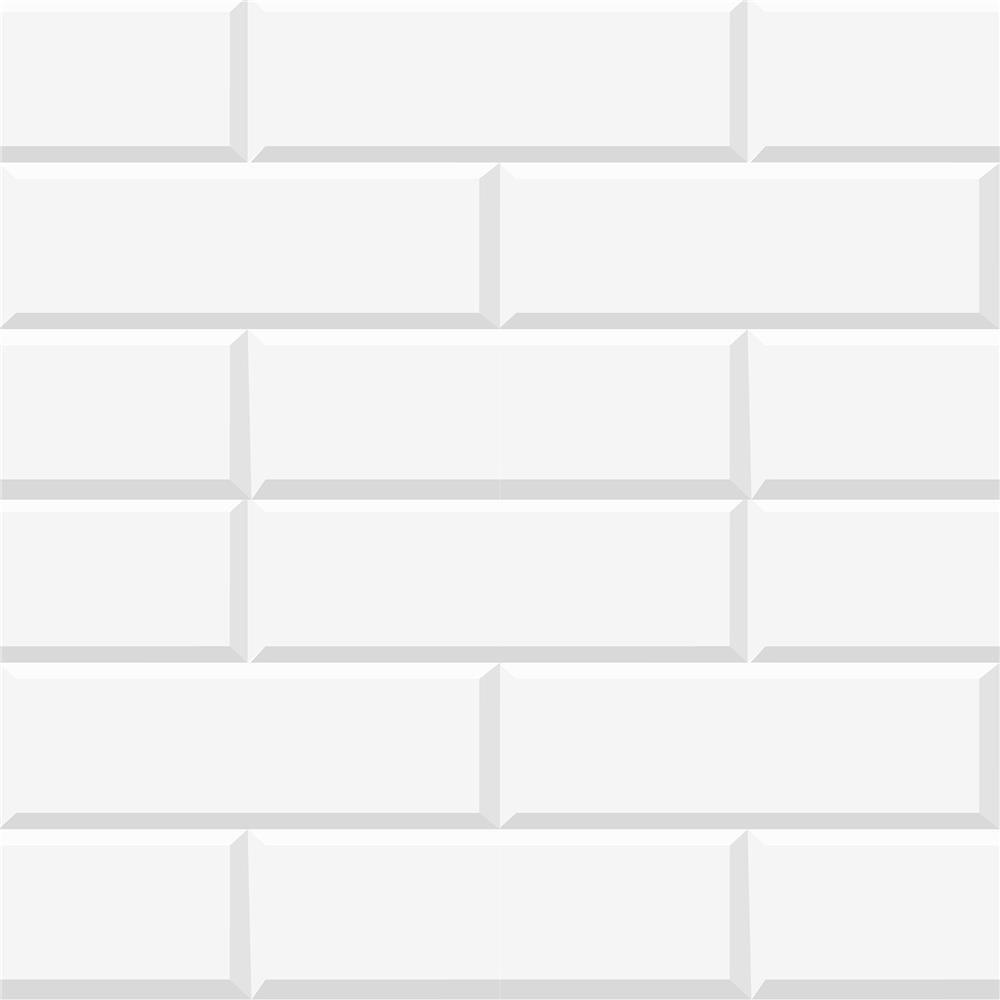 Home Decor Line by Brewster CR-54717 White Bricks Peel and Stick Foam Tiles