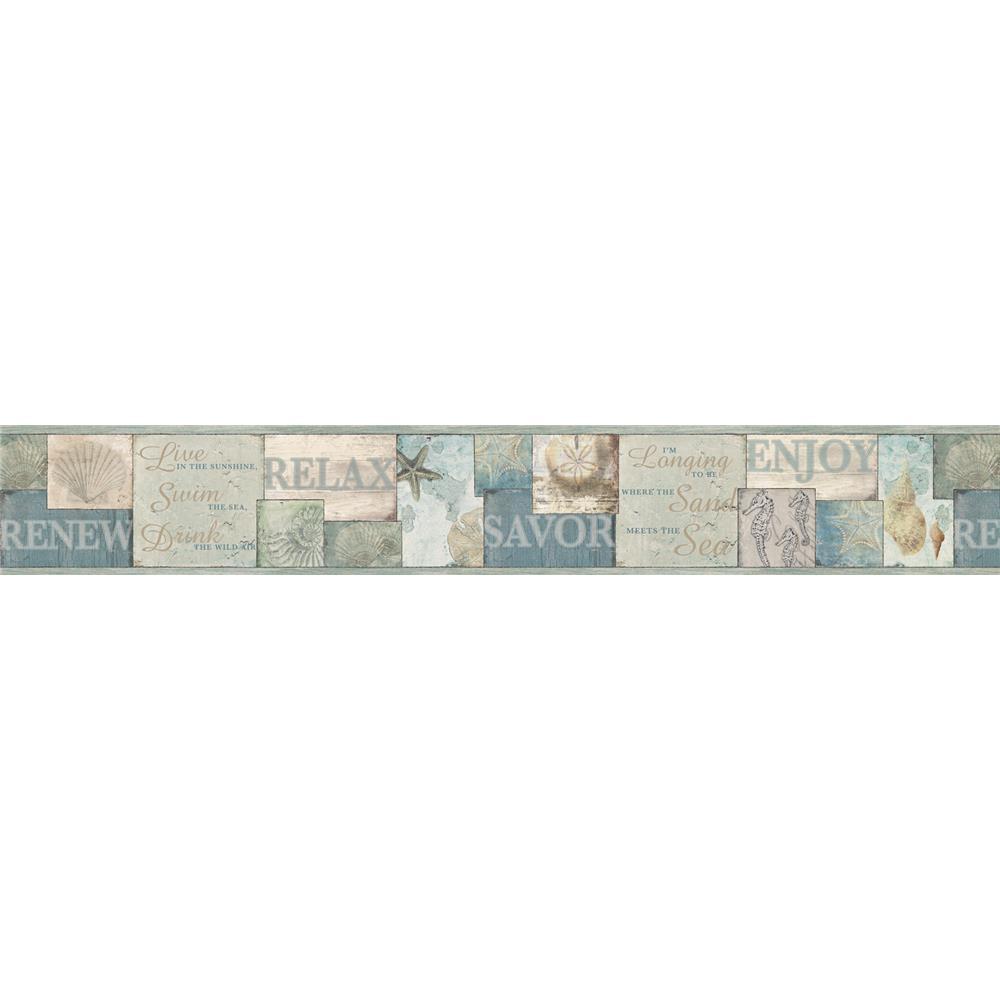 Chesapeake by Brewster DLR53511B Sand Dollar Sagamore Blue Cape Cod Border Wallpaper in Blue