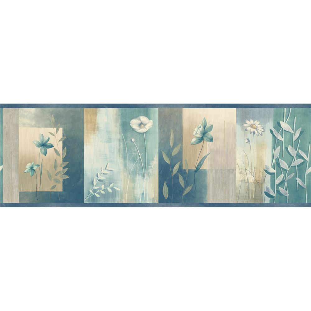 Chesapeake by Brewster MEA24625B Meadowlark Bonnard Turquoise Colorblock Floral Border Wallpaper in Turquoise