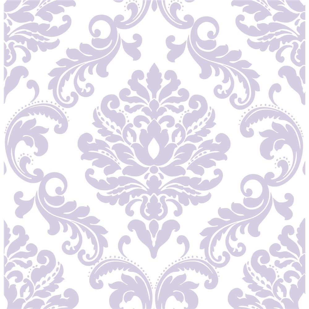 NuWallpaper by Brewster NU1396 NuWallpaper Purple Ariel Peel And Stick Wallpaper