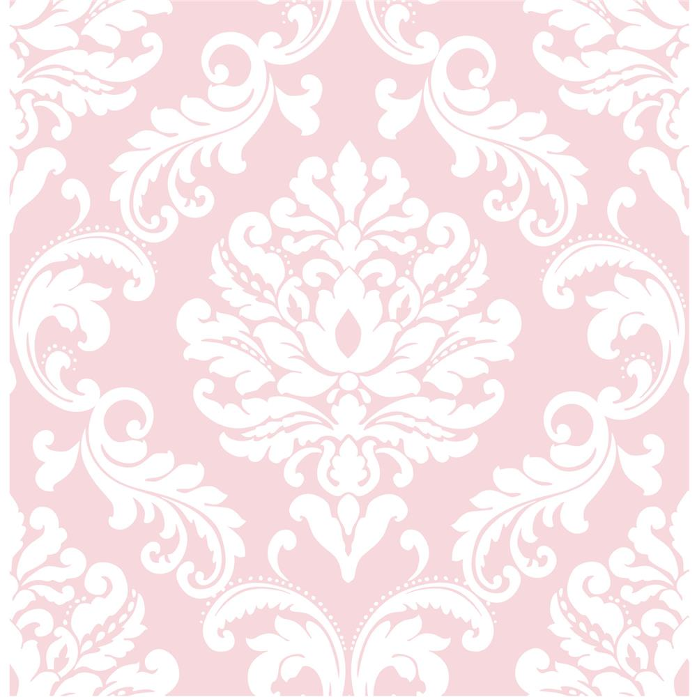 NuWallpaper by Brewster NU1397 NuWallpaper Pink Ariel Peel And Stick Wallpaper