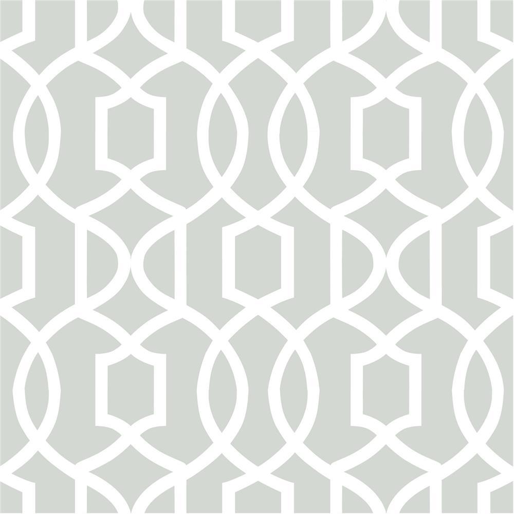 NuWallpaper by Brewster NU1421 NuWallpaper Gray Grand Trellis Peel And Stick Wallpaper