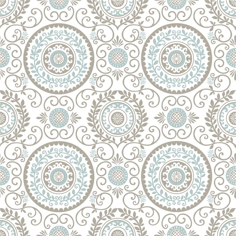 NuWallpaper by Brewster NU1565 Mirabel Medallion Peel and Stick Wallpaper