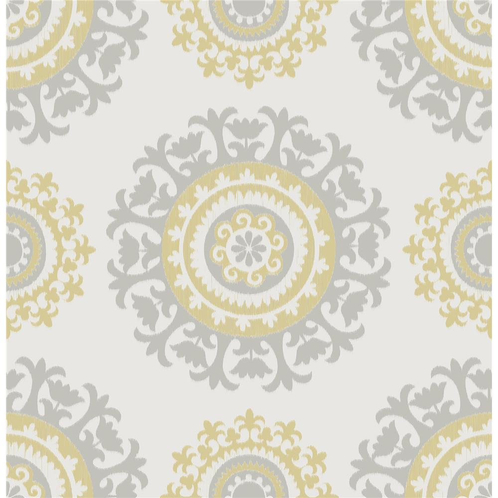 NuWallpaper by Brewster NU1652 Grey and Yellow Suzani Peel And Stick Wallpaper