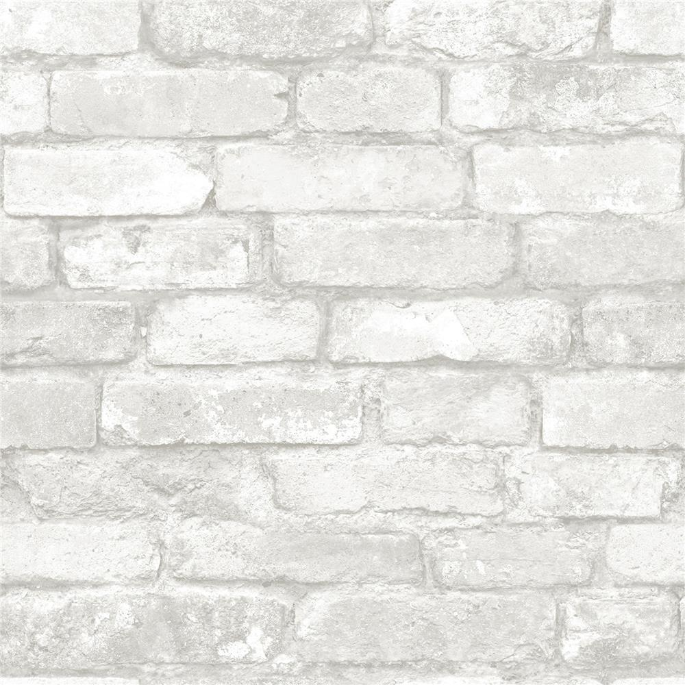 NuWallpaper by Brewster NU1653 Grey and White Brick Peel And Stick Wallpaper