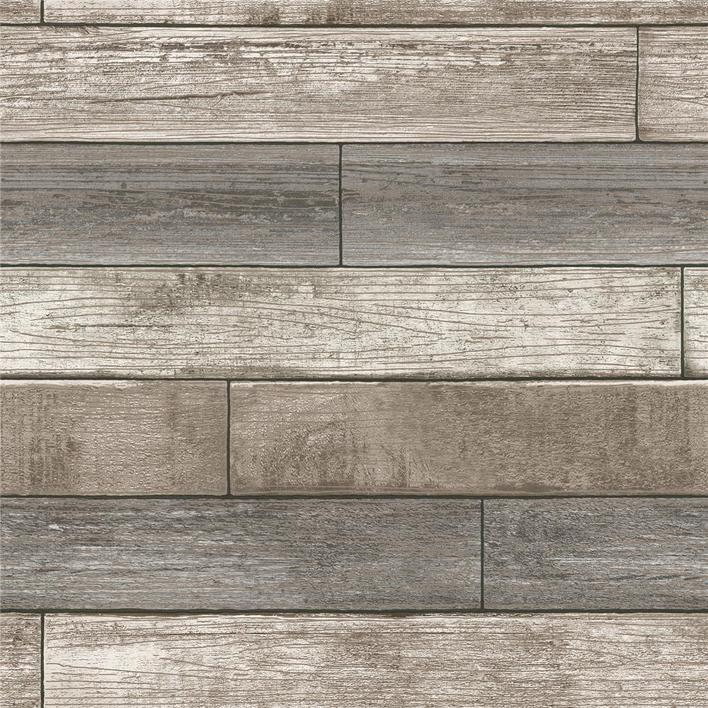 NuWallpaper by Brewster NU1690 Reclaimed Wood Plank Natural Peel and Stick Wallpaper