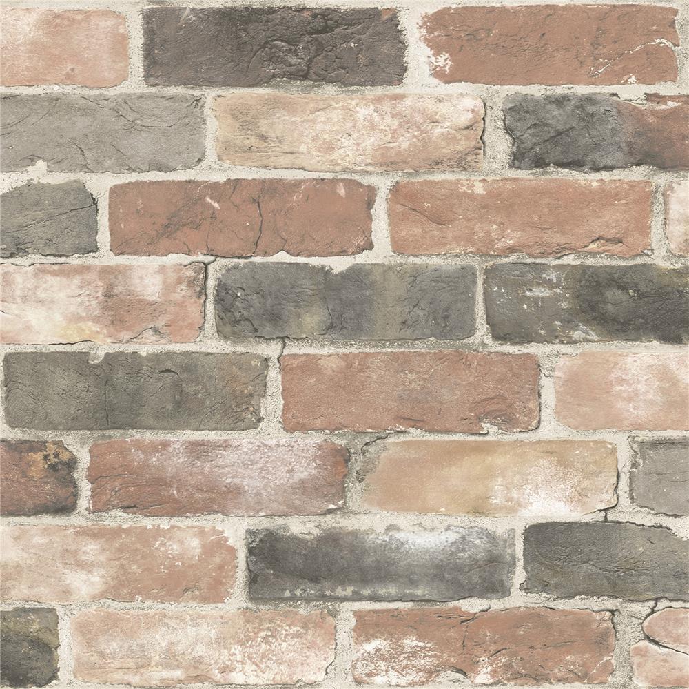 NuWallpaper by Brewster NU2064 Newport Reclaimed Brick Peel and Stick Wallpaper