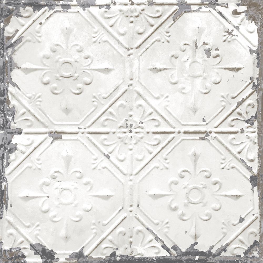 NuWallpaper by Brewster NU2086 Vintage Tin Tile Peel and Stick Wallpaper