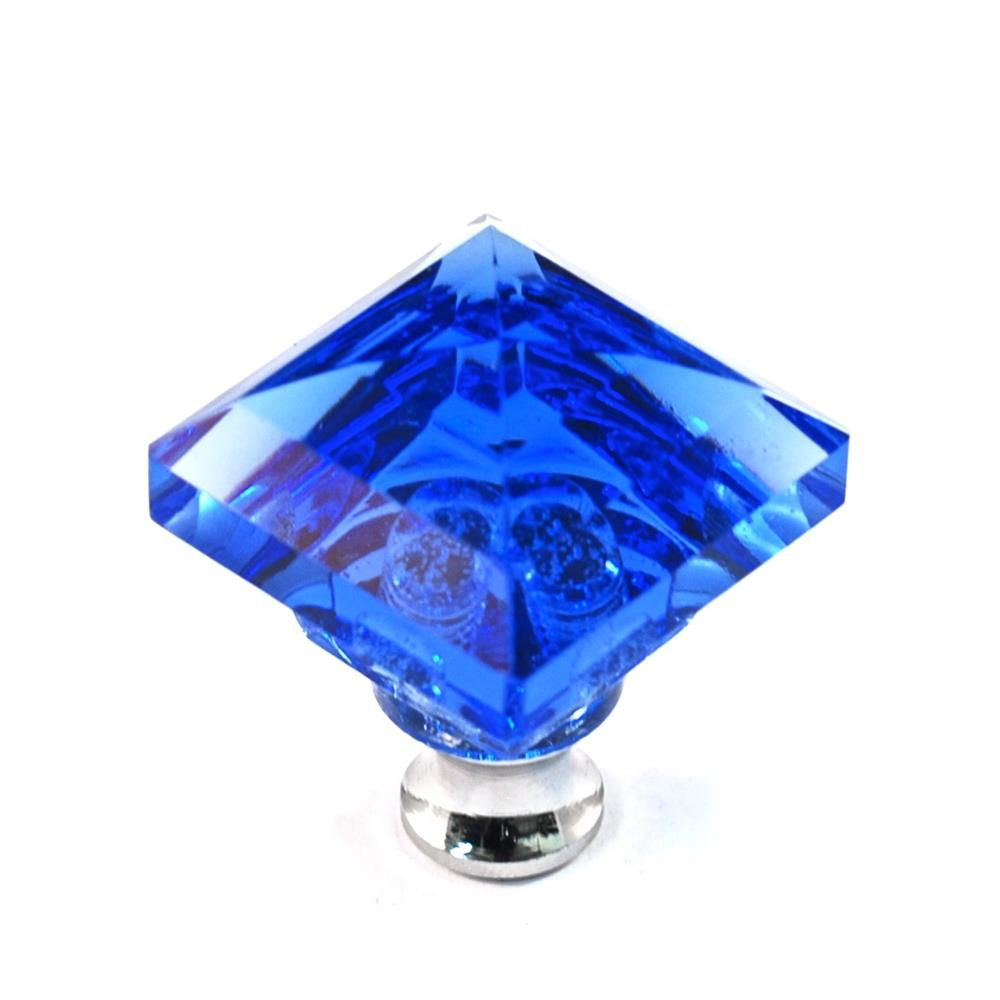 Cal Crystal M995 BLUE Crystal Excel SQUARE KNOB in Polished Chrome