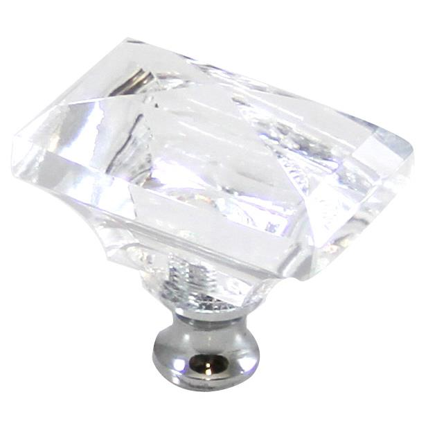 Cal Crystal M997 Crystal Excel RECTANGLE KNOB in Polished Chrome