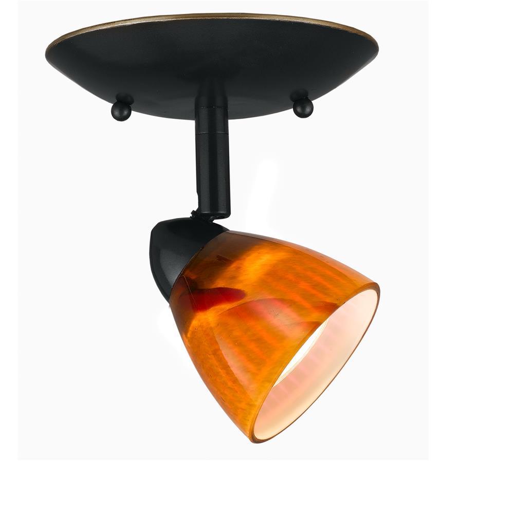 Cal Lighting SL-954-1-DB/AMS Dark Bronze Art Deco / Retro 1 Light Adjustable Canopy Serpentine Light with Amber Spot Shade