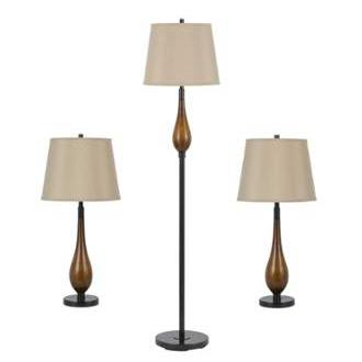 CAL Lighting BO-2302/3 3 Pcs Uni-Pack, 2 Pcs Table Lamp & 1 Pc Floor Lamp in Wood