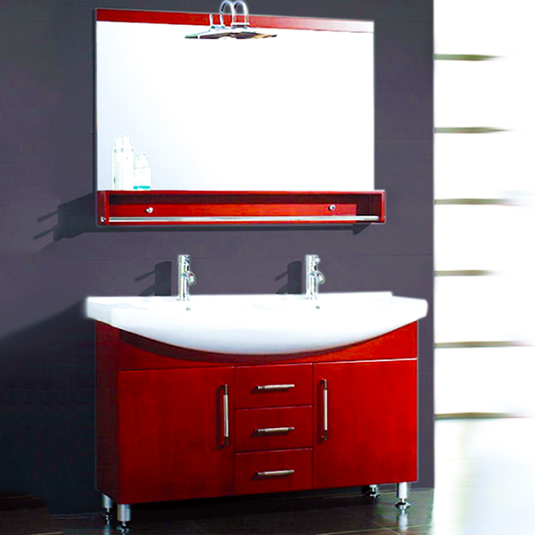 Cambridge Plumbing 5040 48-inch Wood & PorcelainCounter Top With 2 Sinks Vanity Set with Polished Chrome Faucets