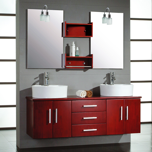 Cambridge Plumbing 5044-BN 59 inch Solid Wood Wall Mount Double Vanity Set with Brushed Nickel Faucets