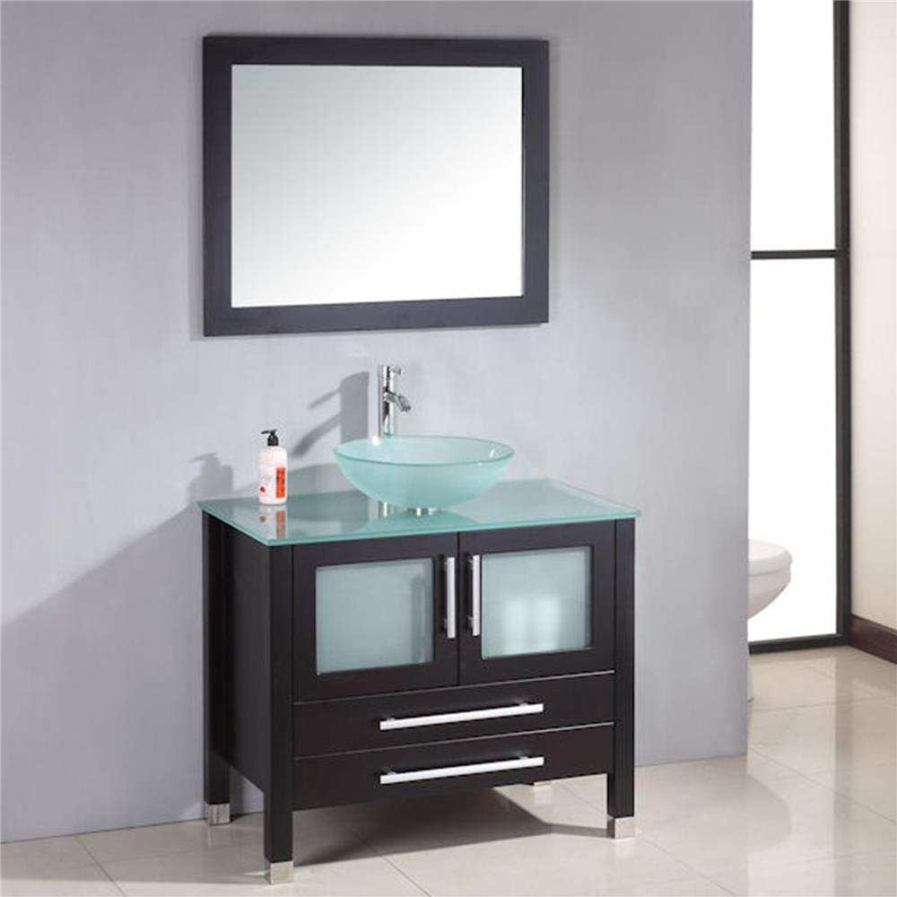 Cambridge Plumbing 8111-B 36 inch  Solid Wood Glass Vessel Sink Set with a Polished Chrome Faucet