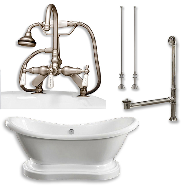 """Cambridge Plumbing ADES-PED-684D-PKG-BN-7DH Acrylic Double Ended  Pedestal Slipper Bathtub 68"""" X 28"""" with 7"""" Deck Mount Faucet Drillings and Complete Brushed Nickel Plumbing Package"""