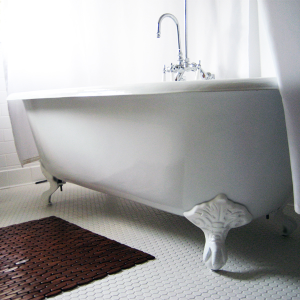 """Cambridge Plumbing DE-60-7DH-BN Cast Iron Double Ended Clawfoot Tub 60"""" X 30"""" with 7"""" Deck Mount Faucet Drillings and Brushed Nickel Feet"""