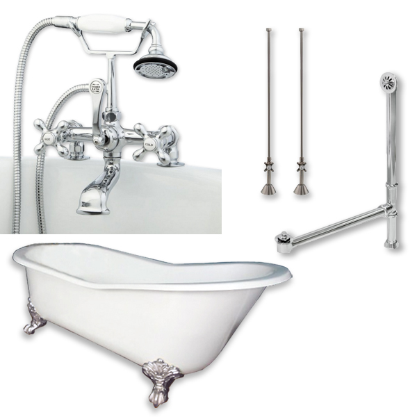 """Cambridge Plumbing ST61-463D-2-PKG-CP-7DH Cast Iron Slipper Clawfoot Tub 61"""" X 30"""" with 7"""" Deck Mount Faucet Drillings and Complete Polished Chrome Plumbing Package"""
