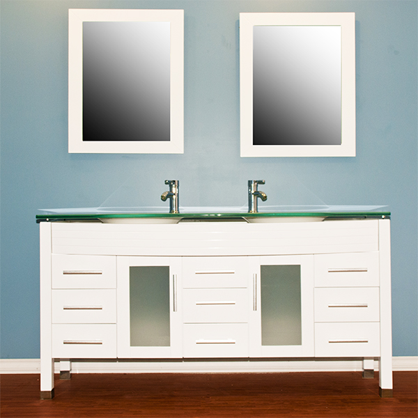Cambridge Plumbing 8129w-BN 63 inch White Wood & Glass Double Sink Vanity Set with Brushed Nickel Faucets
