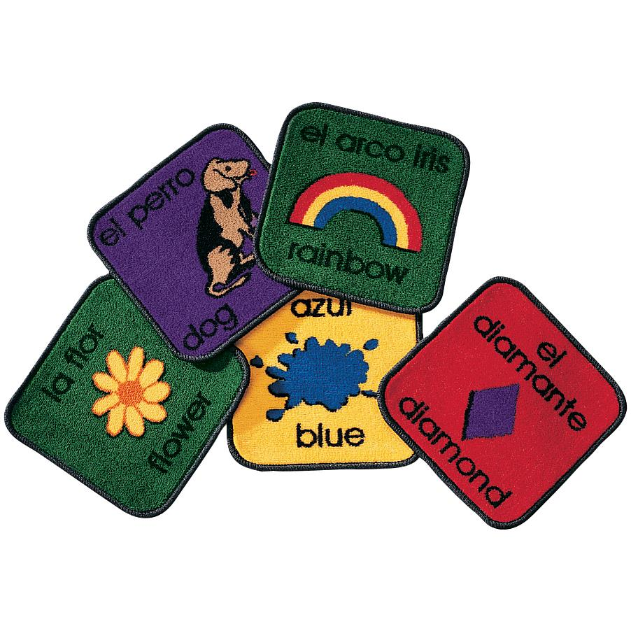 Carpet for Kids 1618 Bilingual Carpet Squares Rug - Set of 18