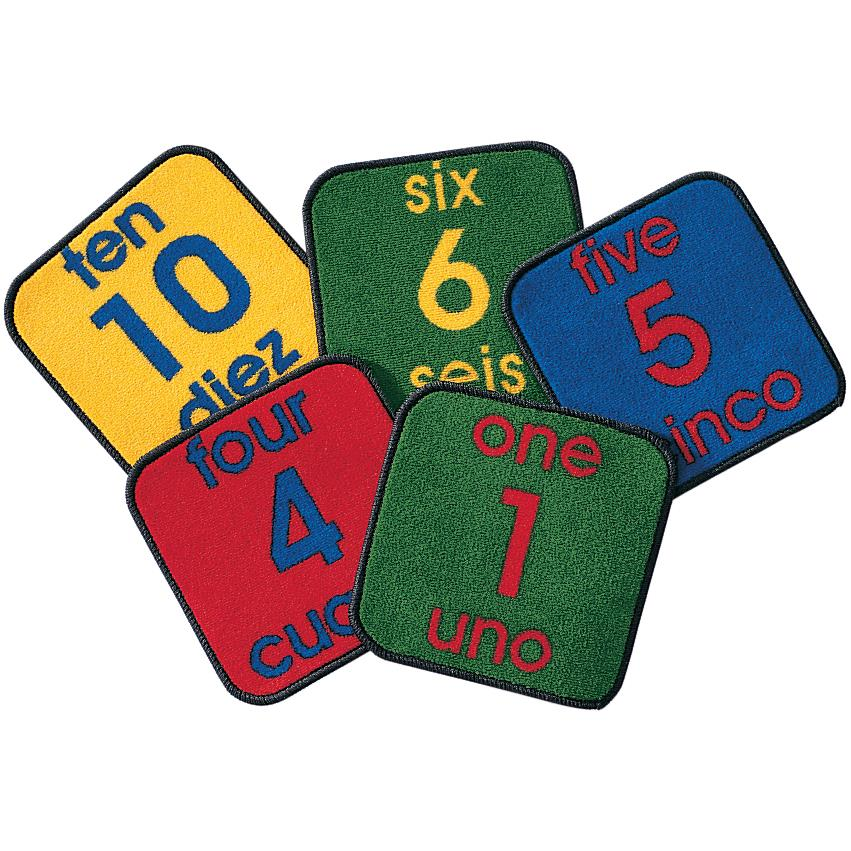 Carpet for Kids 1620 Bilingual Number Squares Rug - Set of 10