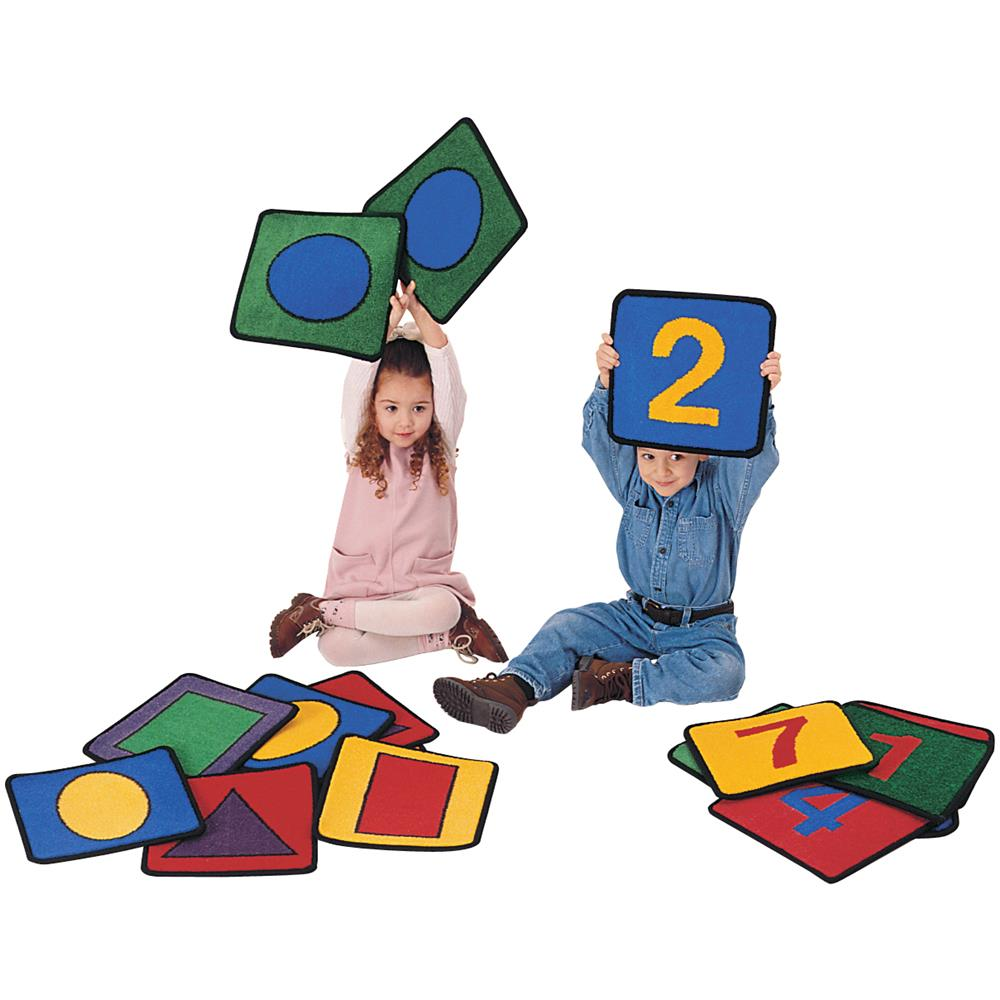 Carpet for Kids 920 Shape/Number Squares Rug - Set of 20