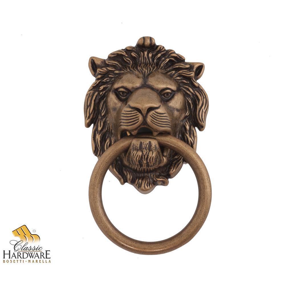 Classic Hardware 100977.03 Brass Lion Door Knocker 4.29-Inch by 7.48-Inch in Antique Brass Distressed