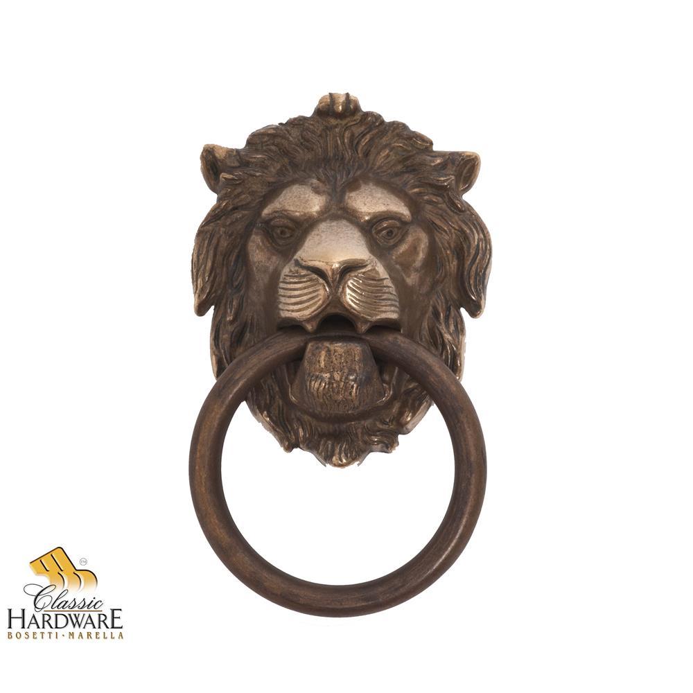 Classic Hardware 100977.09 Brass Lion Door Knocker 4.29-Inch by 7.48-Inch in Antique Brass Dark