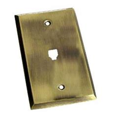 "Colonial Bronze 6008-1NPJ-D20 Single Phone Jack 3 1/4"" center to center screw holes - Distressed Statuary Bronze"