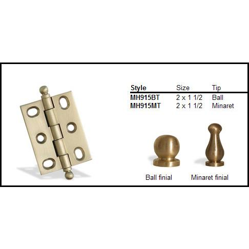 "Colonial Bronze MH915MT-M26D 2"" and 1 1/2"" Mortised Hinge/Minaret Tip  - Matte Satin Chrome"