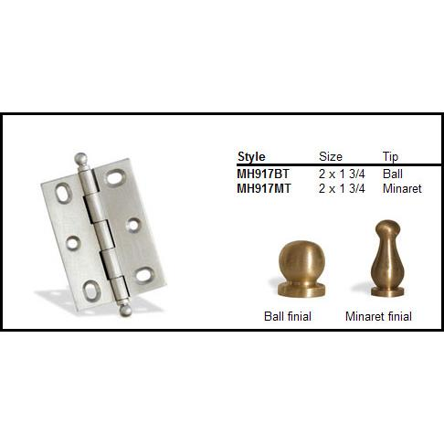 "Colonial Bronze MH917MT-9 2 1/2"" and 1 3/4"" Mortised Hinge/Minaret Tip  - Polished Bronze"