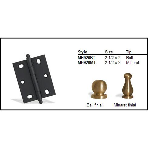 "Colonial Bronze MH920MT-M10B 2 1/2"" and 2"" Mortised Hinge/Minaret Tip  - Matte Oil Rubbed Bronze"