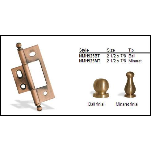 "Colonial Bronze NMH925MT-SCU 2 1/2"" and 7/8"" Non Mortised Hinge  - Matte Satin Copper"
