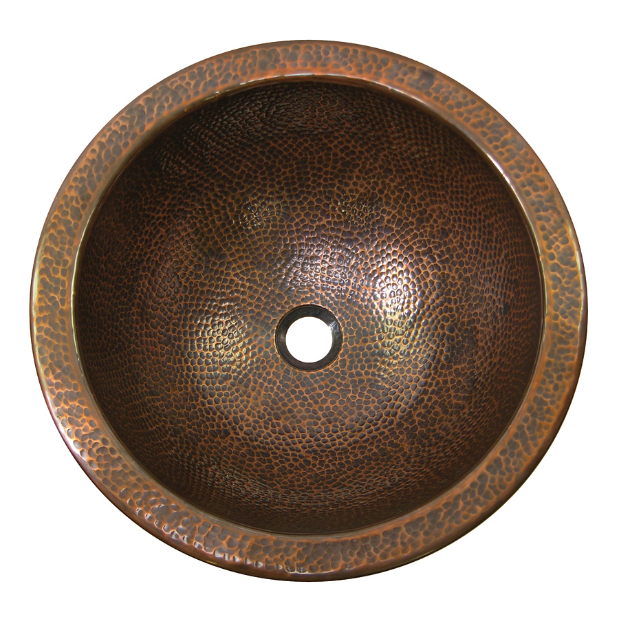The Copper Factory CF151AN Solid Hand Hammered Copper Large Round Self Rimming Lavatory Sink in Antique Copper Finish