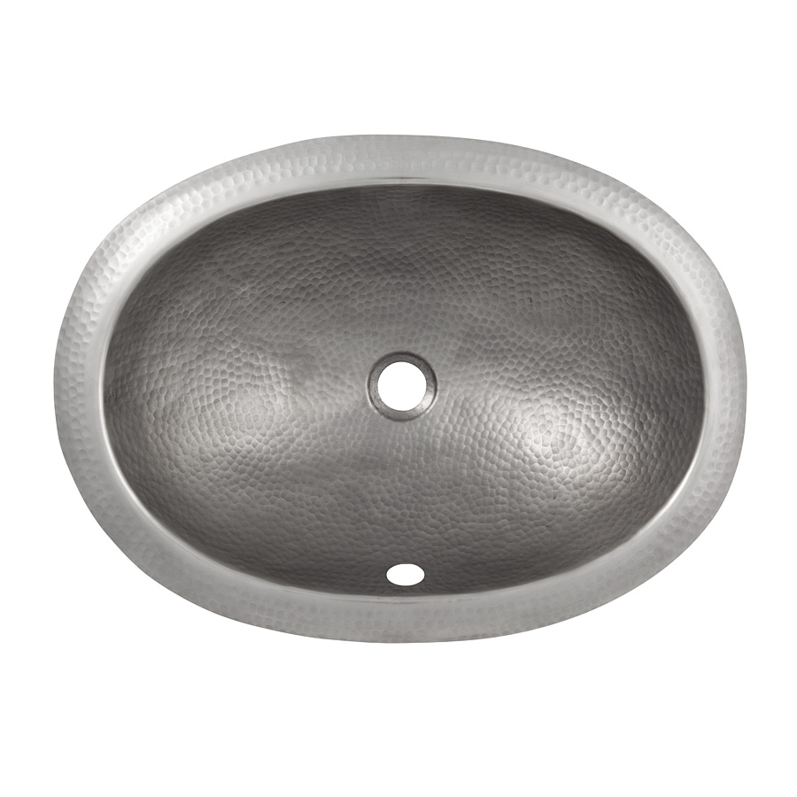 The Copper Factory CF152SN Solid Hand Hammered Copper Oval Undermount Lavatory Sink in Satin Nickel Finish