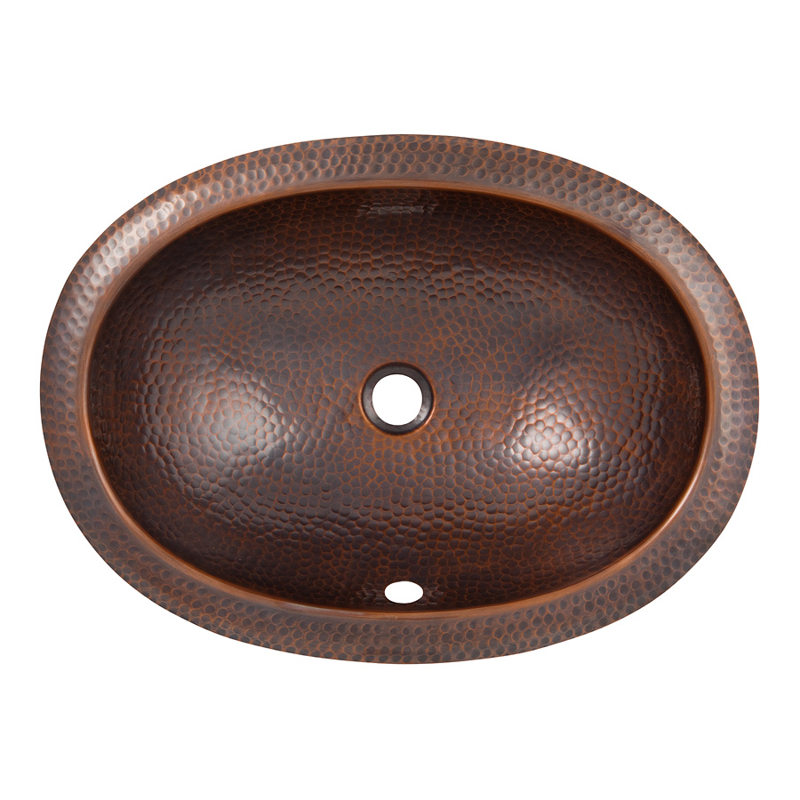 The Copper Factory CF153AN Solid Hand Hammered Copper Oval Self Rimming Lavatory Sink in Antique Copper Finish