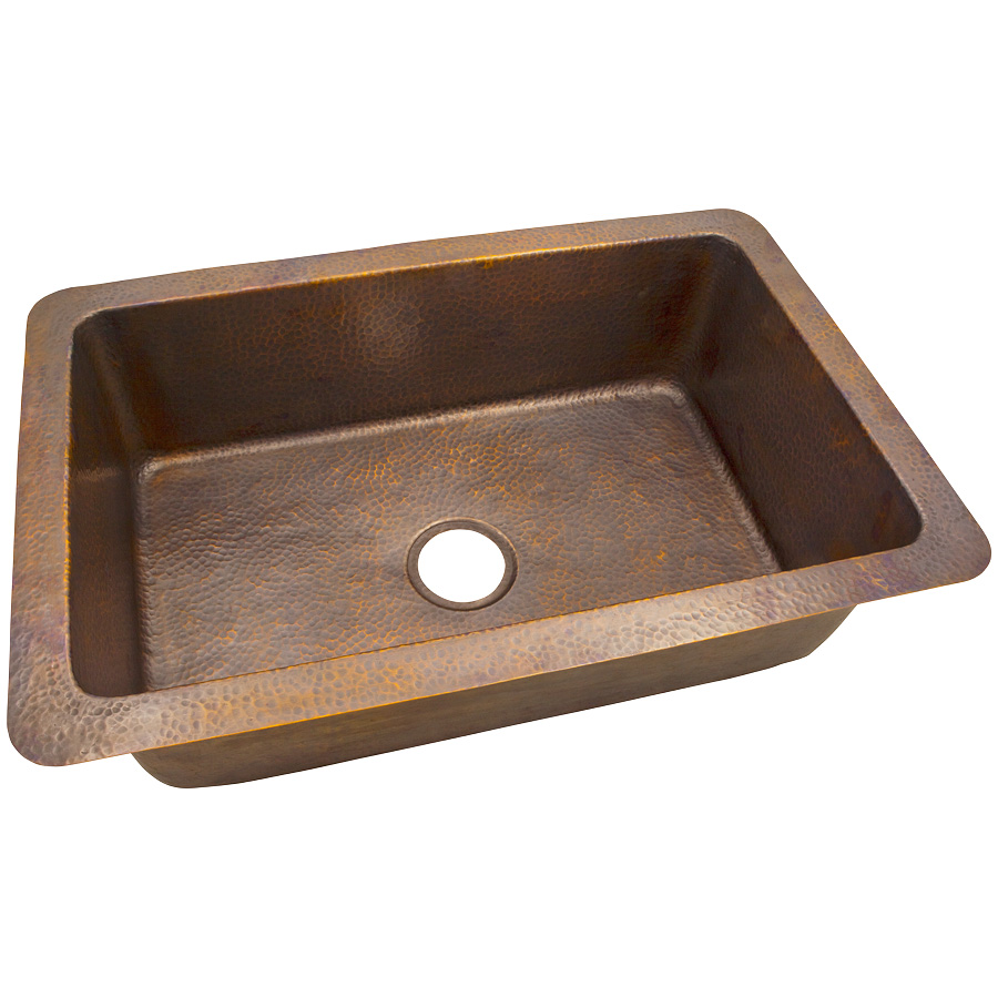 "The Copper Factory CF163AN Solid Hand Hammered Copper 32"" X 21"" Large Single Bowl Drop-In / Undermount Sink in Antique Copper Finish"