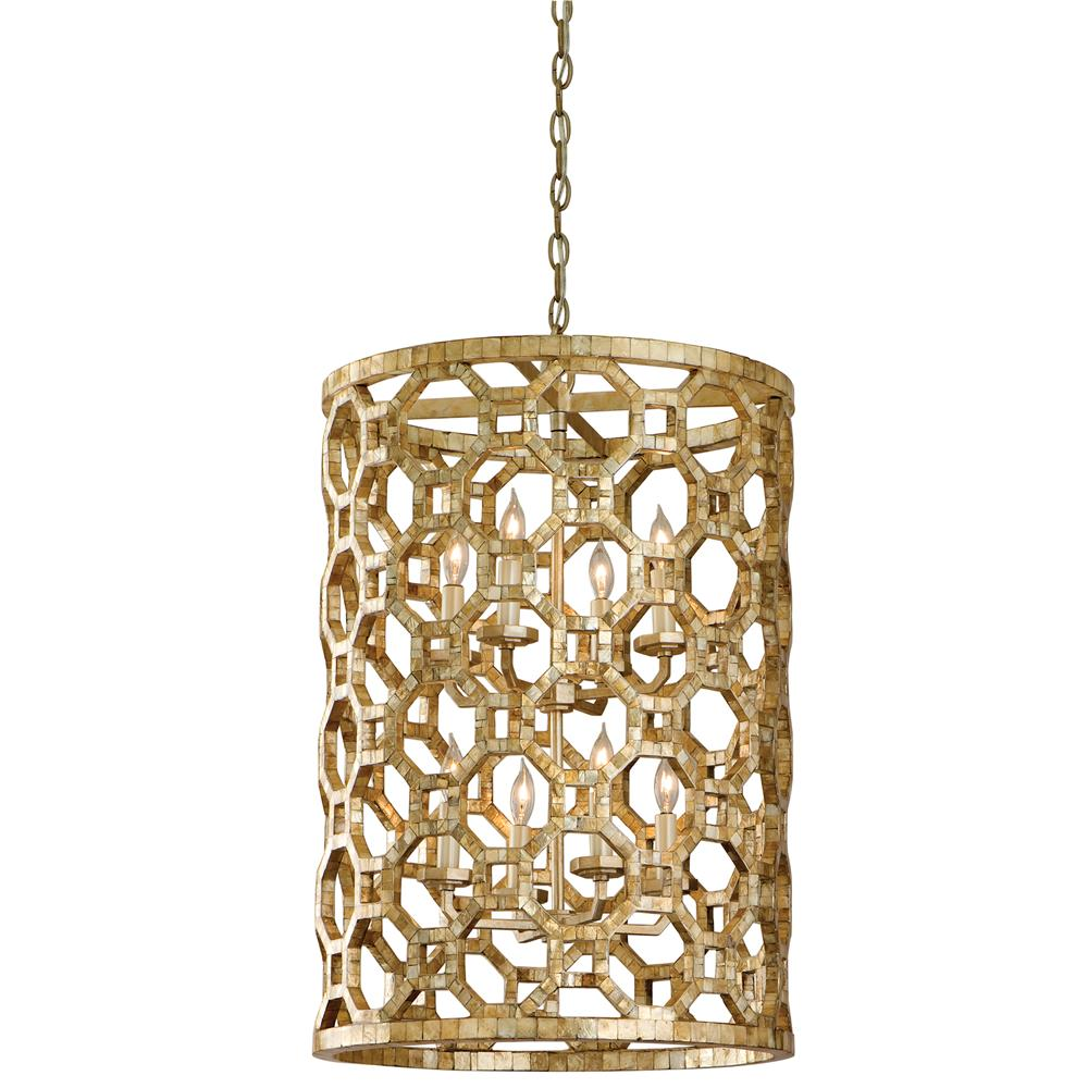 Corbett Lighting 104-78 Regatta 8 Light Medium Entry Pendant in Stained Silver Leaf